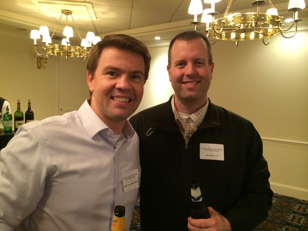 James Arrow and Matt Baker at a HGCS meeting mingling, cutting up, and toasting to a successful year in 2014